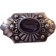 Peruzzi Sterling Brooch Pin with Faceted Amethyst