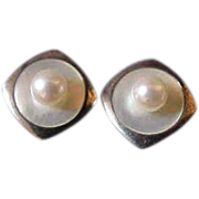 Mikimoto Akoya Pearl & Mother of Pearl Silver Cufflinks