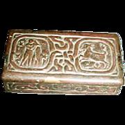 Tiffany Studios Bronze Zodiac Stamp Box