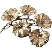 Vintage 18K Yellow Gold Tiffany & Co. Floral  Brooch with Sapphires