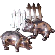 Sterling Silver Pig  & Fence Earrings