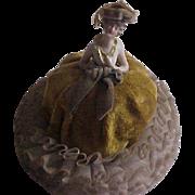 Elegant Porcelain Half Doll Pincushion Vanity item