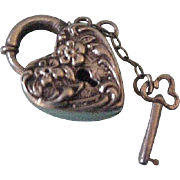 Walter Lampl  Sterling Silver Puffy Padlock Heart with Key