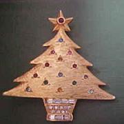 Vintage DeNicola Christmas Tree Brooch with  Rhinestones