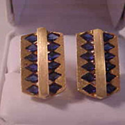 REDUCED Lucien Piccard 14K Yellow Gold & Sapphire Cufflinks
