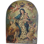 SOLD Retablo- 19th century of Madonna and Child with Saints-