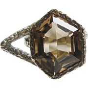 Fabulous Sterling Silver Topaz Modernist Ring