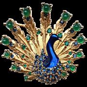 SALE Vintage Boucher Rhinestone Enamel Peacock Figural Pin Mint!