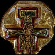 Rare Vintage Murano Art Glass Crucifix on Board
