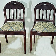 Early Saber Leg Chairs with Rose Crest