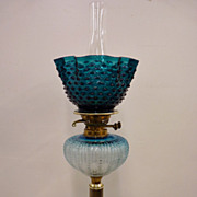 Rare Teal Blue OIl Lamp