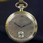 SALE 14K Yellow Gold Gruen Verithin Pocket Watch