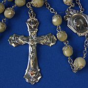 REDUCED Sterling and Mother of Pearl Rosary