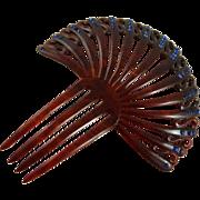 Vintage Celluloid Rhinestone Hair Comb Ornament Faux Tortoiseshell
