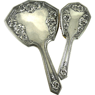 Art Nouveau Silver Plate Hand Mirror and Brush