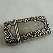 Antique Victorian Sterling Silver Repousse Match Safe Vesta