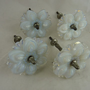 Vintage Pressed Opalescent Glass Curtain Tiebacks