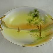 Nippon Porcelain Bowl or Vegetable Dish Lake Scene