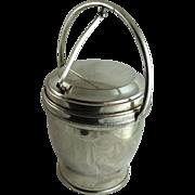 Mid Century Silver Plated Ice Bucket Mercury Glass Liner