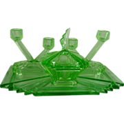 Art Deco Green Glass Vanity Set Bagley Bedford
