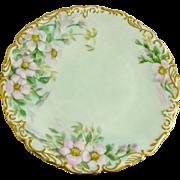Antique Tressemann and Vogt (T&V) Limoges Plate Pink Roses
