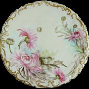 Antique Limoges Plate Pink Mums Tressemann and Vogt