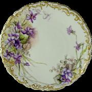 Tressemann and Vogt (T&V) Limoges Plate Violets Signed Dated