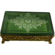 Gilt Brass Ormolu Box Green Cut to Clear Glass Lid Wheel Engraved