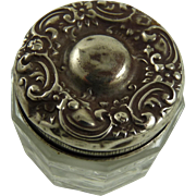 Art Nouveau Sterling Silver and Glass Rouge Pot Vanity Jar