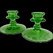 Fostoria Candlesticks 2324 Wheel Engraved Green Glass