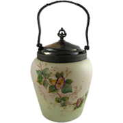 Victorian Custard Glass Biscuit Jar Morning Glories