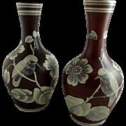 Pair of Antique Victorian Florentine Cameo Glass Vases