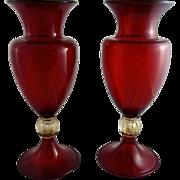 Pair of Art Deco Murano Ruby Glass Vases