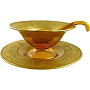 Cambridge Glass Mayonnaise Set Gold Encrusted Etch