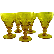 Set of 5 Wheel Cut Crystal Wine Glasses Water Goblets Amber