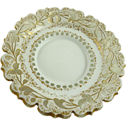 Bohemian White Cut to Clear Glass Plate Bowl