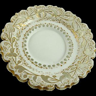 Bohemian White Cut to Clear Glass Plate Bowl
