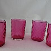 Diamond Optic Cranberry Glass Tumblers