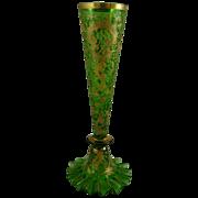 Bohemian Czech Green Glass Bud Vase with Gold Enamel