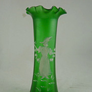 REDUCED Victorian Satin Glass Mary Gregory Vase