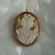 Victorian Helmet Shell Cameo set in 10K Gold with Seed Pearls