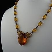 Stunning Art Deco Amber Czech Glass Filigree Necklace
