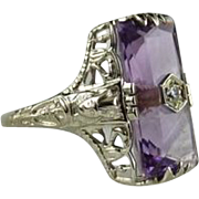 Vintage Amethyst 14K White Gold Egyptian Revival Ring