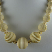 Vintage Ivory Colored Celluloid Bead Necklace