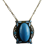Art Deco Brass Filigree and Enamel Pendant with Blue Stone