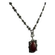 Art Deco Sterling Silver Marcasite and Carnelian Necklace