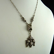 Vintage Sterling Silver and Marcasite Art Deco Necklace
