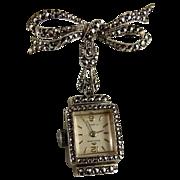 Vintage Bucherer Silver Marcasite Watch Pin Brooch