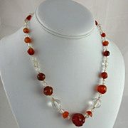 Art Deco Carnelian and Rock Crystal Bead Necklace