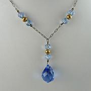 Art Deco Drop Necklace with Blue Glass Briolette